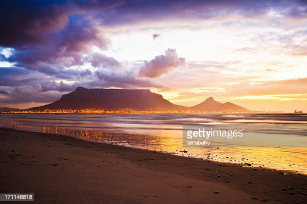 cape town table mountain sunset beach south africa - table mountain stock pictures, royalty-free photos & images