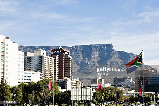 cape town with sa flag - south african flag stock photos and pictures