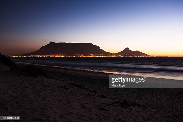 cape town's table mountain in early evening - image title stock pictures, royalty-free photos & images