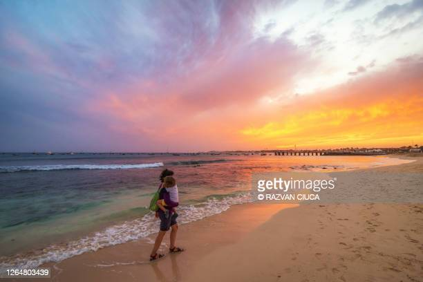 cape verde at sunset - romantic sunset stock pictures, royalty-free photos & images