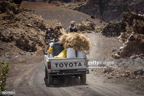 Cape Verde Fogo Santa Catarina farmers at the volcano Fogo