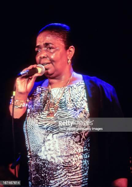 Cape Verdean musician Cesaria Evora sings 'morna' songs from her homeland at the Bottom Line nightclub New York New York September 21 1995