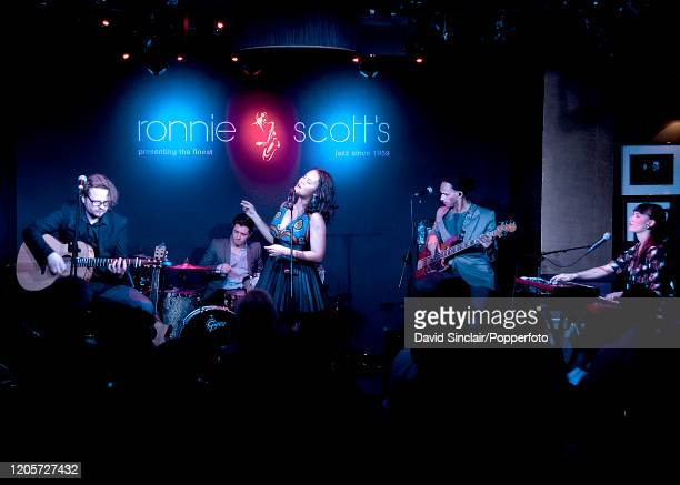 Cape Verdean singer Mayra Andrade performs live on stage with her band at Ronnie Scott's Jazz Club in Soho London on 10th March 2014