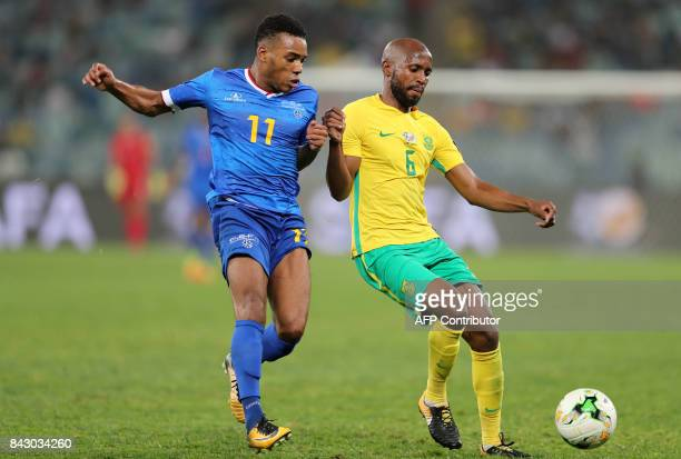 Cape Verde's Garry Rodrigues vies with South Africa's Ramahlwe Mphalele during the 2018 World Cup Qualifiers match South Africa vs Cap Verde at the...