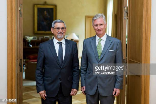 Cape Verde's president Jorge Carlos Fonseca and Belgium's King Philippe pose during an audience at the Royal Palace on July 11, 2017 in Brussels. /...