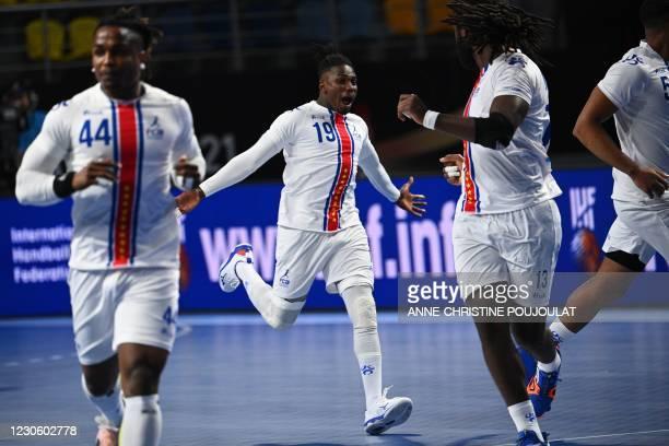 Cape Verde's right winger Admilson Estaliny Furtado celebrates after scoring during the 2021 World Men's Handball Championship between Group A teams...