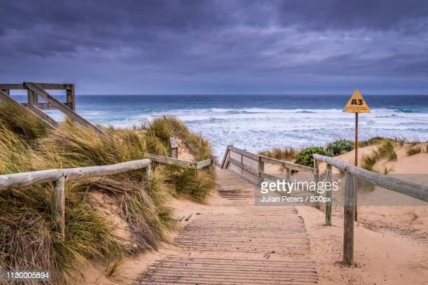 cape woolamai beach at phillip island - melbourne storm stockfoto's en -beelden