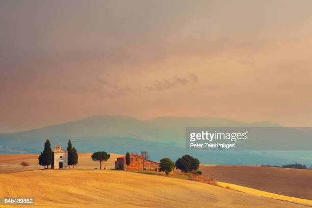 capella di vitaleta in tuscany, near to san quirico d'orcia, italy - italian cypress stock photos and pictures