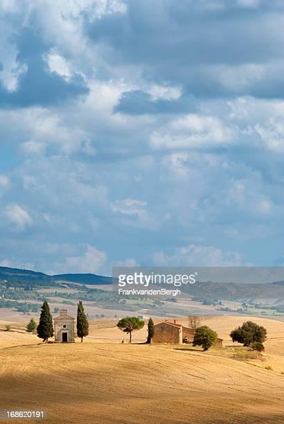 Capella di Vitaleta on a hill in Tuscany