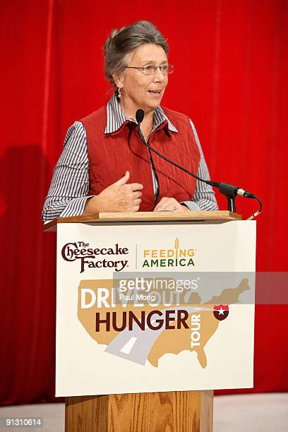 Capital Area Food Bank President CEO Lynn Brantley makes remarks at the completion of The Cheesecake Factory Feeding America's 'Drive Out Hunger'...