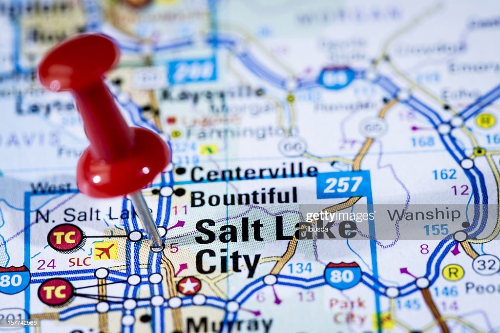 Salt Lake City On Us Map.Us Capital Cities Map Series Salt Lake City Utah Ut Stock Photo