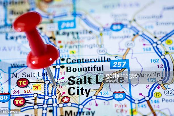 us capital cities map series: salt lake city, utah, ut - us state border stock photos and pictures
