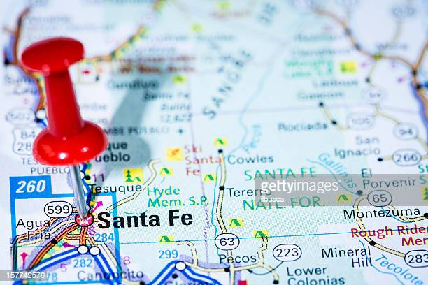 US capital cities map series: Santa Fe, New Mexico, NM