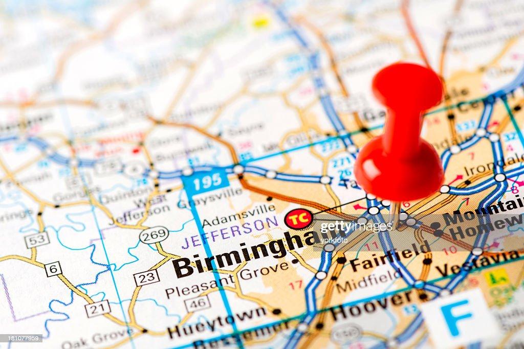 Birmingham Karte.Ushauptstadt Auf Karte Serie Birmingham Al Stock Foto