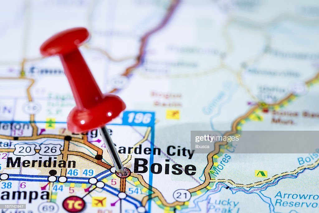 Us Capital Cities On Map Series Boise Idaho Id Stock Photo Getty