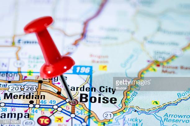 us capital cities on map series: boise, idaho, id - boise idaho stock pictures, royalty-free photos & images