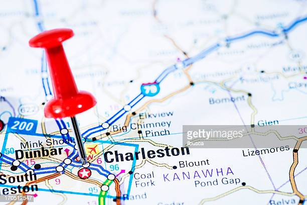 us capital cities on map series: charleston, west virginia, wv - charleston west virginia stock pictures, royalty-free photos & images