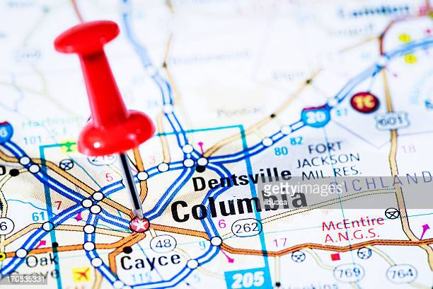 us capital cities on map series: columbia, south carolina, sc - columbia south carolina stock pictures, royalty-free photos & images