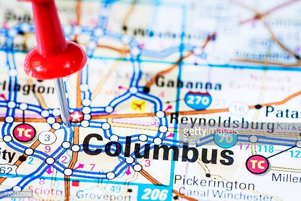us capital cities on map series: columbus, ohio, oh - columbus ohio stock pictures, royalty-free photos & images