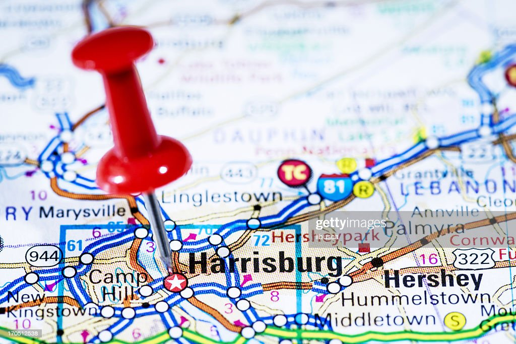 Us Capital Cities On Map Series Harrisburg Pennsylvania Pa Stock