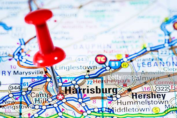us capital cities on map series: harrisburg, pennsylvania, pa - harrisburg pennsylvania stock pictures, royalty-free photos & images