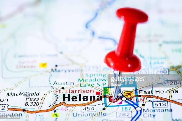 us capital cities on map series: helena, montana, mt - us state border stock photos and pictures