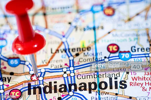 US capital cities on map series: Indianapolis, Indiana, IN