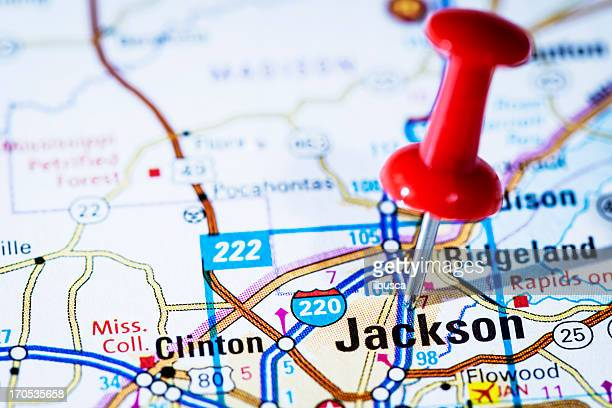 US capital cities on map series: Jackson, Mississippi, MS