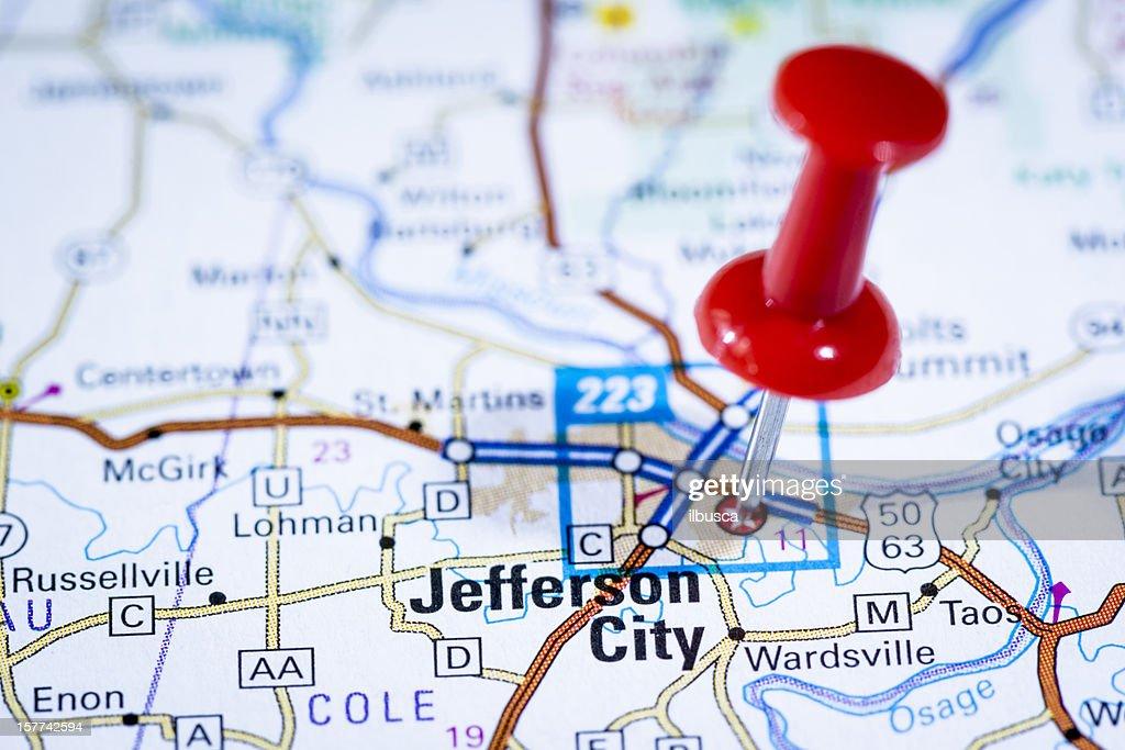 Us Capital Cities On Map Series Jefferson City Missouri Mo Stock