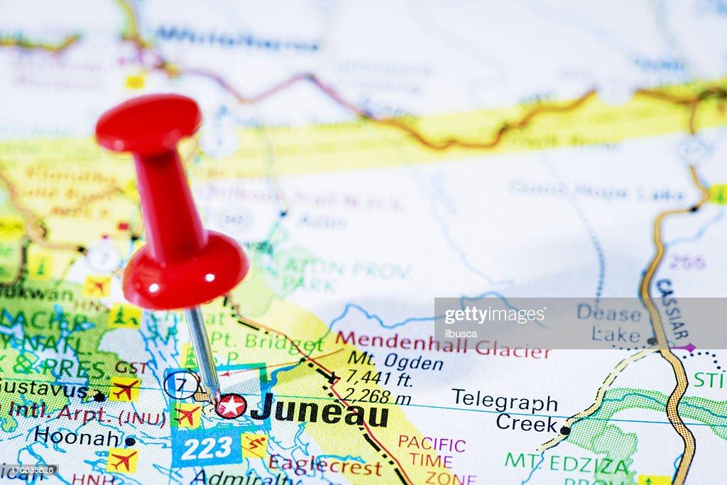 Us Capital Cities On Map Series Juneau Alaska Ak Stock Photo Getty