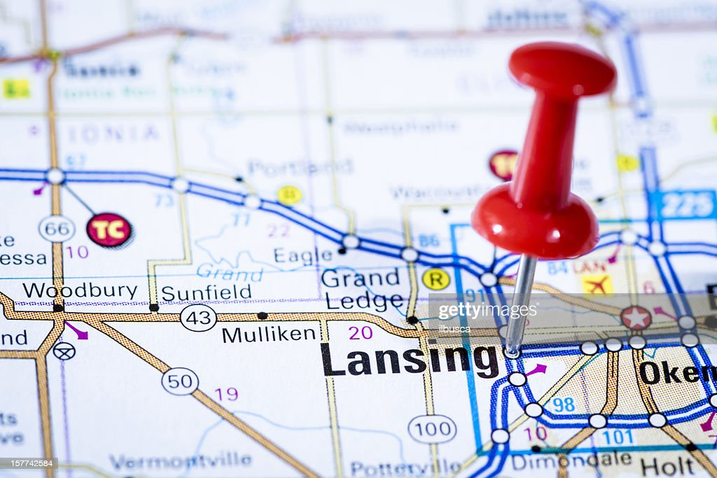 Us Capital Cities On Map Series Lansing Michigan Mi High-Res ...