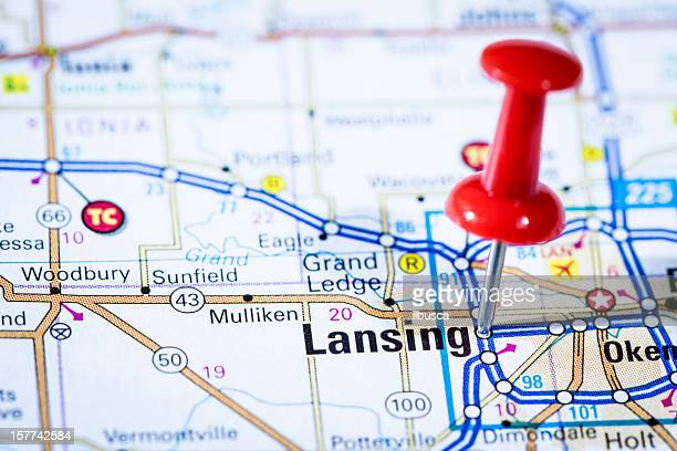 us capital cities on map series: lansing, michigan, mi - lansing stock pictures, royalty-free photos & images
