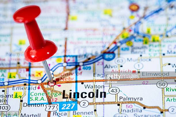 us capital cities on map series: lincoln, nebraska, ne - lincoln nebraska stock pictures, royalty-free photos & images