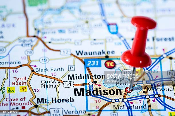 us capital cities on map series: madison, wisconsin, wi - madison wisconsin stock pictures, royalty-free photos & images