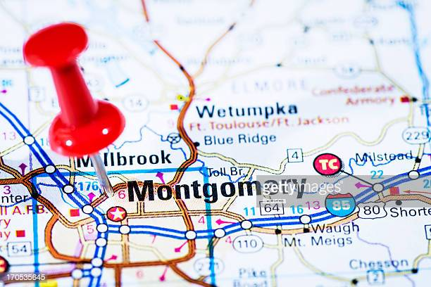 us capital cities on map series: montgomery, alabama, al - montgomery alabama stock pictures, royalty-free photos & images