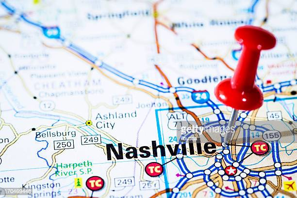 us capital cities on map series: nashville, tennessee, tn - nashville stock pictures, royalty-free photos & images