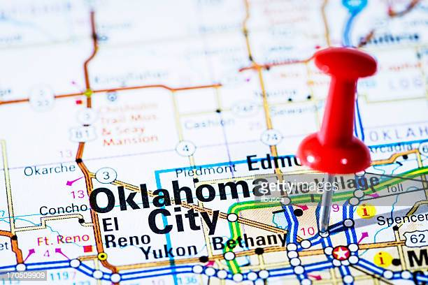 us capital cities on map series: oklahoma city, oklahoma- ok - oklahoma city stock pictures, royalty-free photos & images