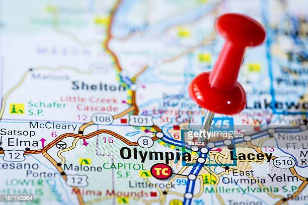 us capital cities on map series: olympia, washington, wa - olympia washington state stock pictures, royalty-free photos & images