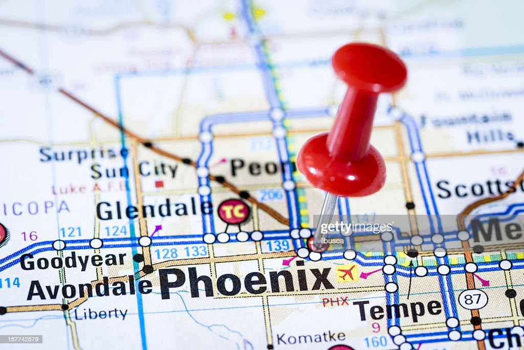 Us Capital Cities On Map Series Phoenix Arizona Az Stock Photo - Map of us capital cities