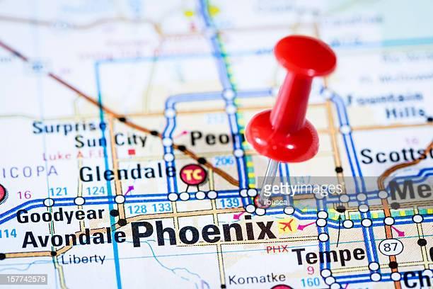 US capital cities on map series: Phoenix, Arizona, AZ
