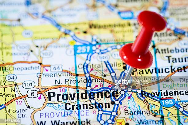 us capital cities on map series: providence, rhode island, ri - providence rhode island stock photos and pictures
