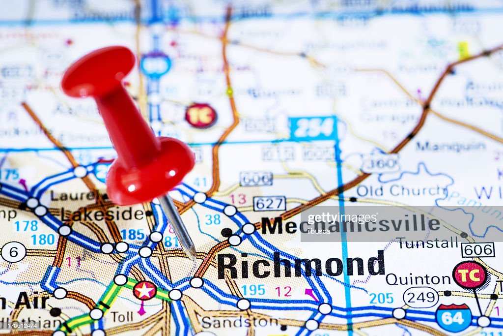 Us Capital Cities On Map Series Richmond Virginia Va Stock Photo - Richmond-virginia-on-us-map