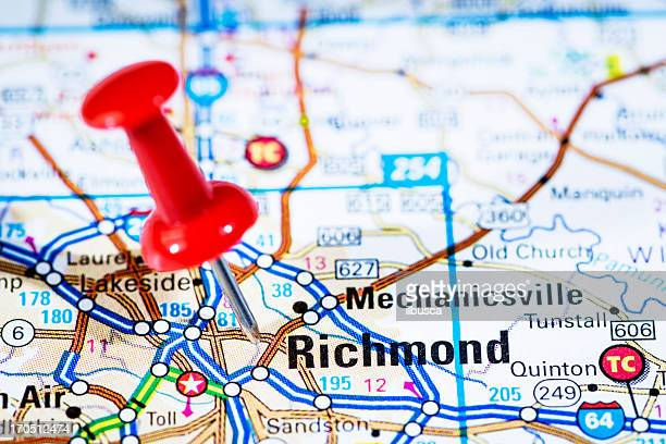 US capital cities on map series: Richmond, Virginia, VA