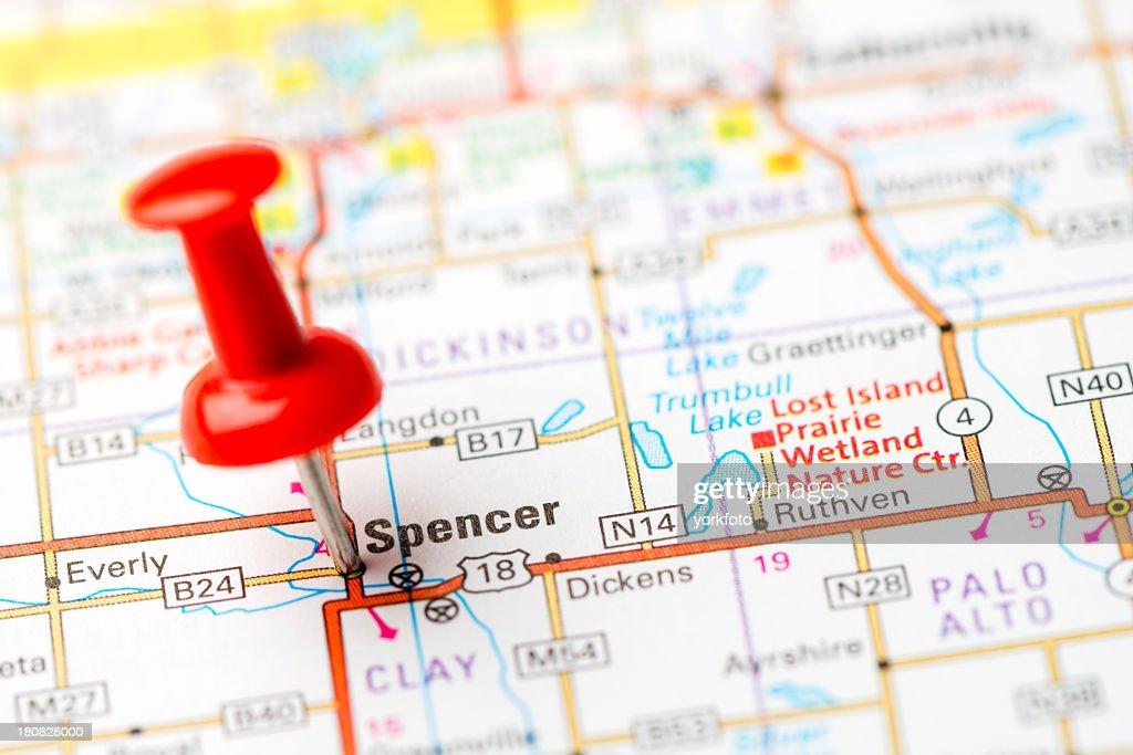 Us Capital Cities On Map Series Spencer Iowa Ia Stock Photo Getty