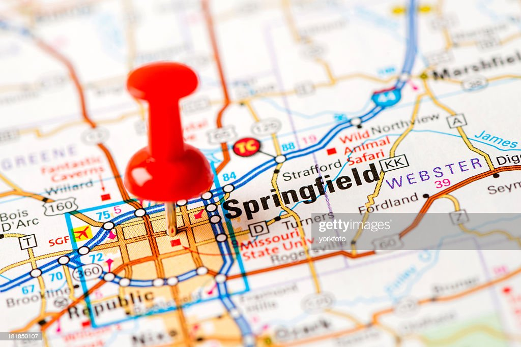 Us Capital Cities On Map Series Springfield Mo Stock Photo Getty
