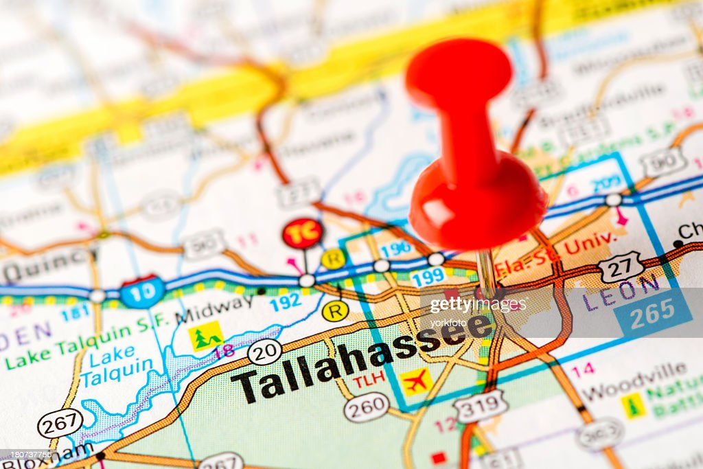 Us Capital Cities On Map Series Tallahassee Fl Stock Photo | Getty ...