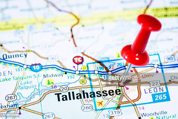 us capital cities on map series: tallahassee, florida, fl - tallahassee stock pictures, royalty-free photos & images