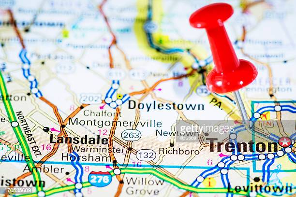 us capital cities on map series: trenton, new jersey, nj - trenton new jersey stock photos and pictures