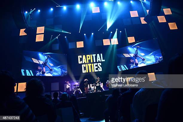 Capital Cities performs at Hulu's Upfront Presentation on April 30 2014 in New York City