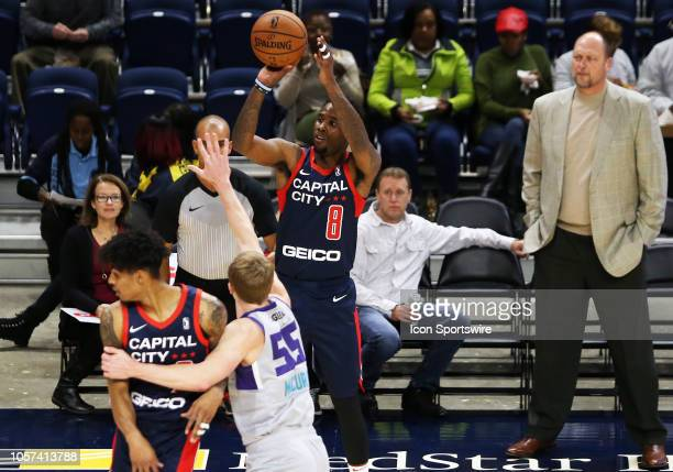 Capital City GoGo guard Tiwian Kendley takes a shot during an NBA G League match between the Capital City GoGo and Greensboro Swarm on November 03 at...